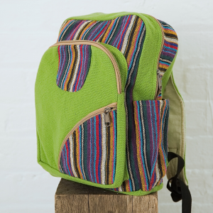 Green Cotton Woven Backpack