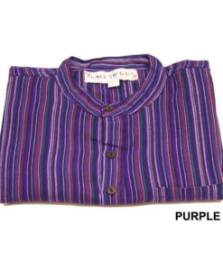 Purple Stripe Grandad Shirt